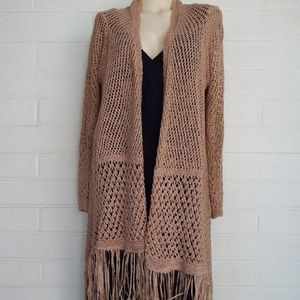 Chico's 2 Large boho open weave fringed cardigan